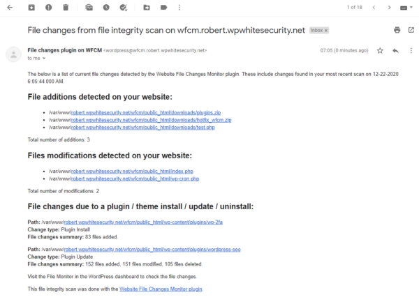 Notifications par e-mail des modifications de fichiers